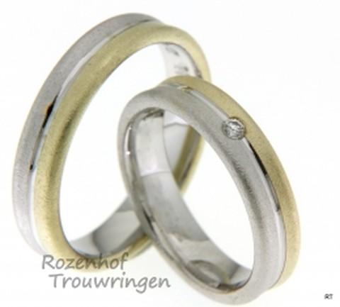 Deze exclusieve trouwringen zijn uitgevoerd in het witgoud en geelgoud met een schitterende diamant.