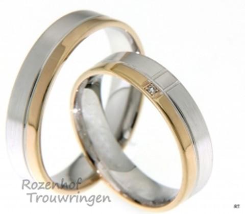 Dit is een prachtig trouwrringen paar in het witgoud en roodgoud. De ringen zijn modern met een fonkelende uitstraling.