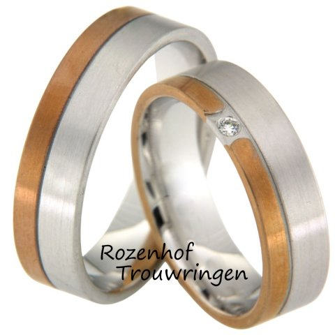 Trendy bicolor trouwringen van wit- en roodgoud
