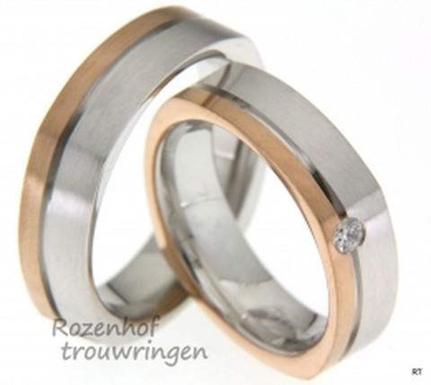 Bijzonder van vormgeving zijn deze bicolor trouwringen van roodgoud en witgoud met gematteerde finish. De ringen hebben een breedte van 6 mm. In de dames trouwring is een briljant geslepen diamant gezet van 0,07 ct.