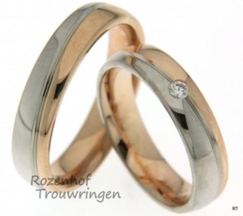 Lieftallige, bicolor trouwringen van wit- en roodgoud. De trouwringen zijn mooi gepolijst dat geeft de ringen een stijlvolle uitstraling.