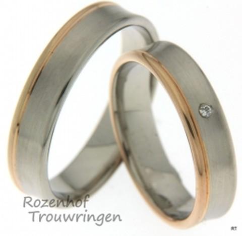 Deze mooie trouwringen zijn vervaardigd uit wit- en roodgoud en zijn 5 mm breed. Verder zijn de ringen identiek aan elkaar, in de ring van de bruid zijn echter diamanten gezet.