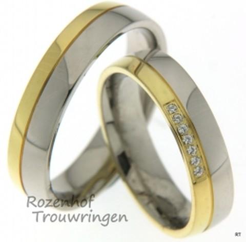 Hoogglanzende, bicolor trouwringen. In de dames trouwring zijn 7 briljant geslepen diamanten gezet.