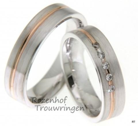 Unieke trouwringen uitgevoerd in het wit- en roodgoud. De ringen zijn tijdloos, omdat jullie voor elkaar ook tijdloos en voor eeuwig is.