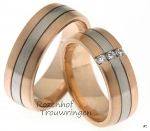Krachtige trouwringen in het roodgoud en witgoud. De ringen zijn 7 mm breed. Bij ons krijgt u persoonlijk aandacht bij het uitkiezen van u trouwringen.