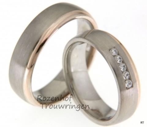 Trouwringen met fonkelende diamanten. De ringen zijn tweekleurig: witgoud met roodgoud wat een prachtig contrast geeft tussen warme kleuren en koele kleuren.