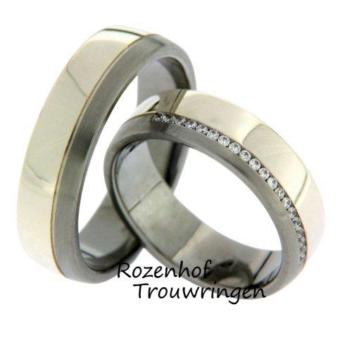 Fonkelende trouwringen van 9 krt witgoud en palladium. De ringen zijn 6 mm breed. De dames trouwring is schitterend bezet met 20 briljant geslepen diamanten van totaal 0,1 ct.