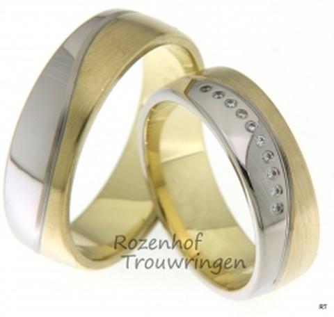 Speciale trouwringen, contrastrijk door de tweekleurige vlakverdeling van witgoud en geelgoud. De ringen zijn 6,5 mm. breed. De dames trouwring is bezet met 10 briljant geslepen diamanten van in totaal 0,05 ct.