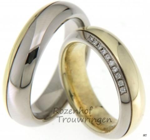 KLassiek ogende, bicolor trouwringen van glanzend wit- en geelgoud van 6 mm breed. De ringen hebben een bolle vormgeving. In de dames trouwring zijn 10 briljant geslepen diamanten gezet van in totaal 0,05 ct.