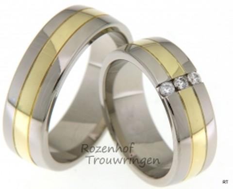 Voor een grootse liefde, deze 7 mm brede bicolor trouwringen, waarvan de buitenbanen bestaan uit witgoud en de binnenbaan uit geelgoud. In de dames trouwring zijn 3 briljant geslepen diamanten geplaatst van in totaal 0,12 ct.