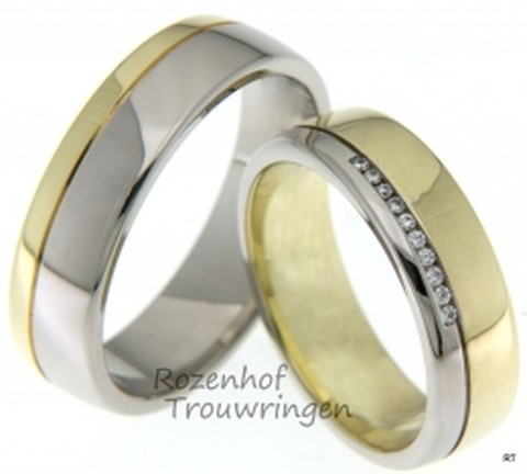 Een tweekleurig paar, deze ringen, welke vervaardigd zijn uit glanzend witgoud en geelgoud. De trouwringen zijn 6 mm breed. De dames trouwring is bezet met 10 briljant geslepen diamanten van in totaal 0,05 ct.