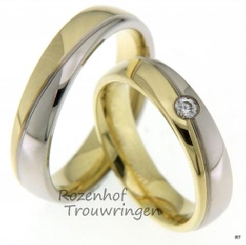 Bicolor trouwringen met een klassiek karakter. De ringen hebben een breedte van 5 mm en zijn verdeeld in glanzend witgoud en glanzend geelgoud. In de dames trouwring prijkt een briljant geslepen diamant van 0,08 ct.