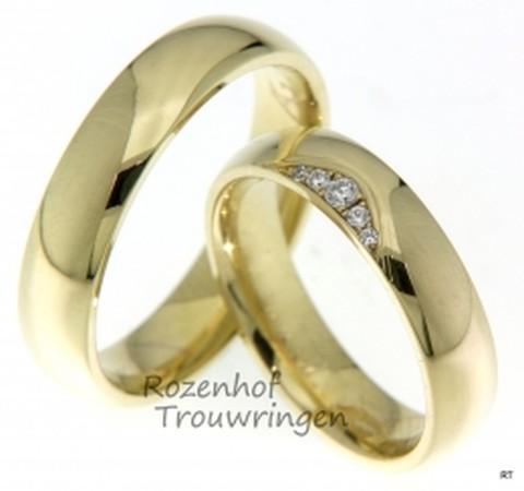 Chique, geelgouden trouwringen