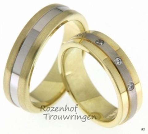 U zoekt een moderne bicolor ring? Dan is dit misschien iets voor u. Prachtige, 6 mm brede, bicolor trouwringen van mat geelgoud met een glanzende witgouden binnenbaan, welke fraai afsteekt bij het geelgoud. In de dames trouwring zijn 5 briljant geslepen diamanten gezet van in totaal 0,1 ct.