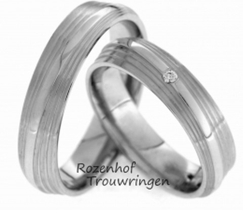 Witgouden ringen met lijnenspel