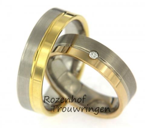 Deze trouwringen zijn uitgevoerd in wit- en geelgoud. De breedte van de ringen is 6 mm. In de damesring is één sprankelende, briljant geslepen diamant gezet. Deze ringen zijn leverbaar in 9, 14 en 18 karaat goud. Deze trouwringen zijn het begin van eindeloos geluk!