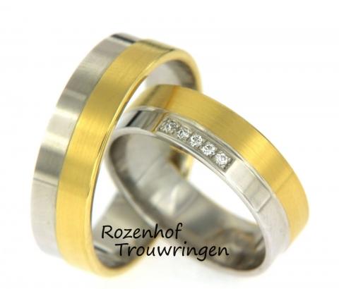 Mooie, strakke trouwringen bestaand uit wit- en geelgoud. De breedte van beide ringen is 6 mm. De ringen zijn voor de helft geelgoud en voor de helft witgoud. Bij de damesring zit in het witgouden gedeelte een klein veldje van vijf briljant geslepen diamanten van 0,025 ct. Mooi setje trouwringen voor eindeloos geluk! Deze ringen zijn leverbaar in 9, 14 en 18 karaat goud.