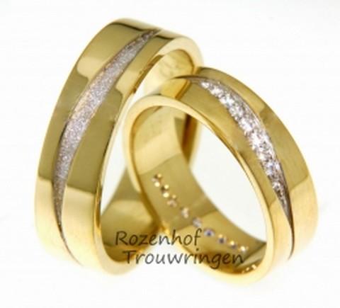 Gracieuze, geelgouden trouwringen met diamanten