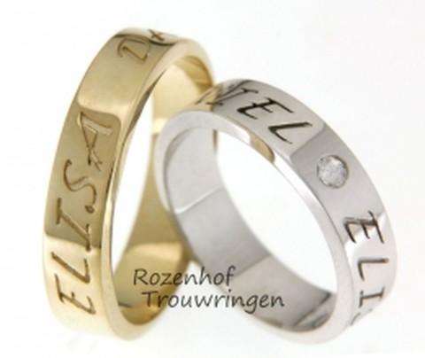Naamringen van geelgoud of witgoud met daarin, in fraai lettertype, de naam van uw geliefde en maatje voor het leven. Als vrouwelijke touch is in de dames trouwring, een briljant geslepen diamant gezet.