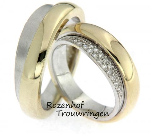 Opzoek naar iets speciaals dat is vervaardidg uit wit- en geelgoud en bijzondere vormen heeft? Wellicht is dit trouwrigensetje dan iets voor julie! Met diamanten voor de bruid, natuurlijk.