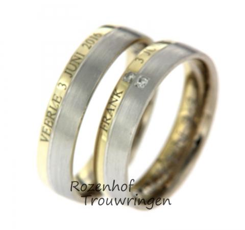 Deze mooie persoonlijke trouwringen zijn verkrijgbaar bij Rozenhof Trouwringen. De ringen bestaan uit wit- en geelgoud. In het geelgouden deel staat iets persoonlijks, namelijk u naam van u verloofde en de trouwdatum. Andere tekst is ook mogelijk. In de damesring zijn twee briljant geslepen diamanten gezet. Deze ringen zijn leverbaar in 9, 14 en 18 karaat goud.
