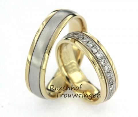 Excelente trouwringen in twee kleuren met diamanten
