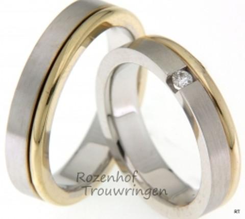 Fraai vormgegeven, tweekleurige trouwringen