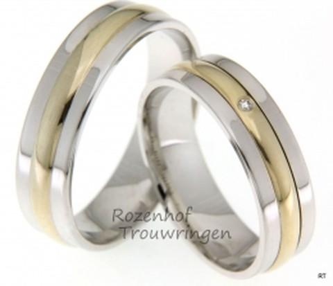 Bicolor trouwringen van 5,8 mm breed. De ringen zijn opgebouwd uit 3 bolle banen van glanzend witgoud en geelgoud. In de geelgouden baan van de dames trouwring is een briljant geslepen diamant van 0,02 ctcgezet.