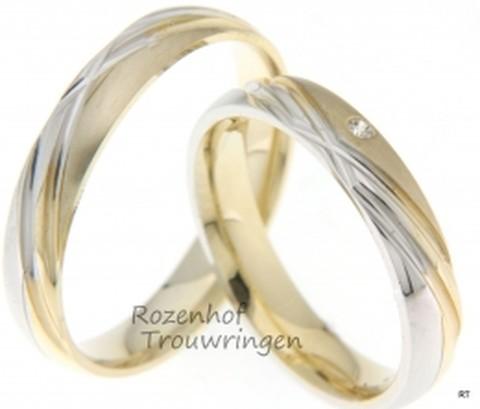 Sprankelende, bicolor trouwringen van 4 mm breed, voor degene die van een sprankeling houdt. Een ring met beweging, gemaakt van geelgoud en witgoud. In de dames trouwring is een briljant geslepen diamant geplaatst van 0,02 ct.