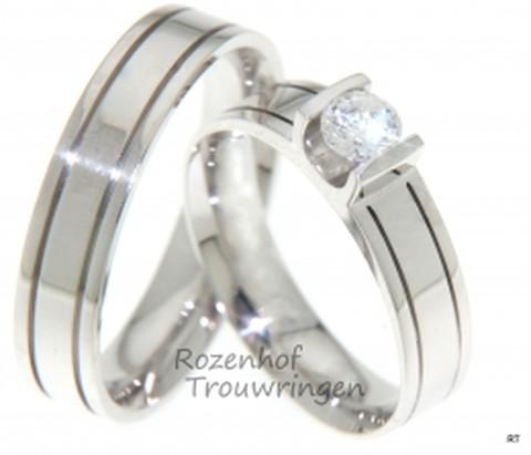 Glanzend witgouden trouwringen met prachtige diamant