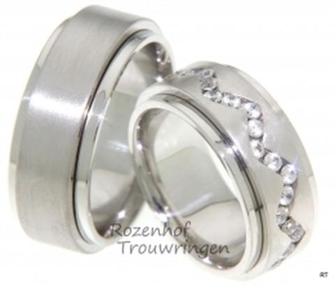 Robuuste witgouden trouwringen met kronkelende rivier van diamanten