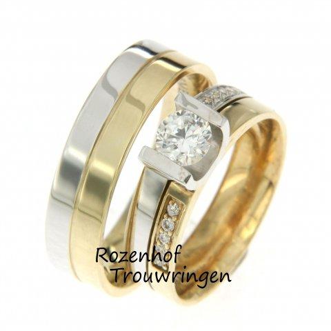Tweekleurige trouwringen met schitterende diamanten