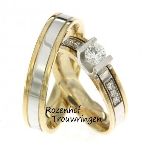 Een klasse apart, deze tweekleurige trouwringen van glanzend geelgoud en witgoud. De ringen hebben een breedte van 4,5 mm. De dames trouwring is bezet met 6 briljant geslepen diamanten van 0,15 ct en 1 briljant geslepen diamant van 0,35 ct, welke zorgen voor een prachtige schittering.
