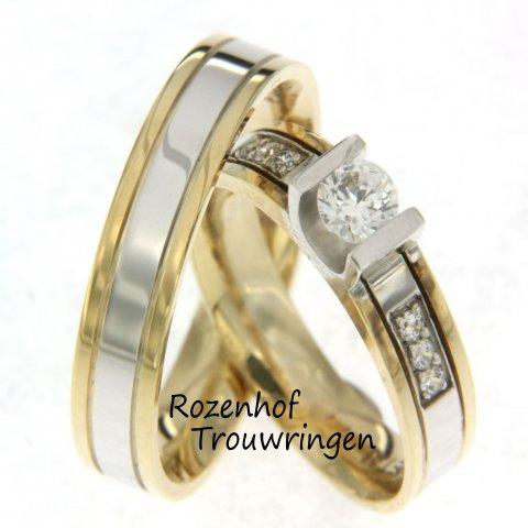 """Deze luxe trouwringen maken onderdeel uit van de tweekleurige trouwringencollectie bij Rozenhof Trouwringen. Door de schitterende diamanten, de utvoering van geel- en witgoud en de breedte vinden wij het zeker terecht dat dit trouwringenpaar wordt gekoppeld aa het woord """"luxe trouwringen""""."""