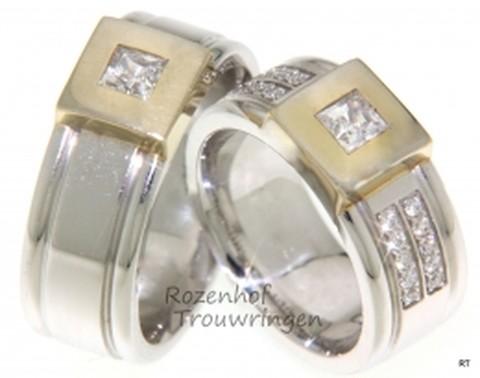 Extravagante trouwringen van wit- en geelgoud met diamanten