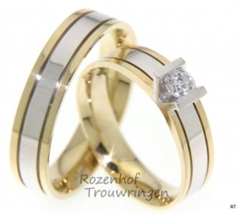 Tweekleurige trouwringen met fonkelende diamant