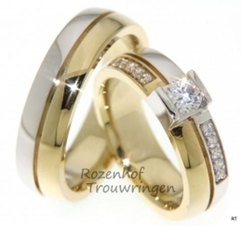 Betoverende, bicolor trouwringen met schitterende diamanten