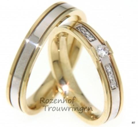 Subtiele trouwringen in twee kleuren met diamanten