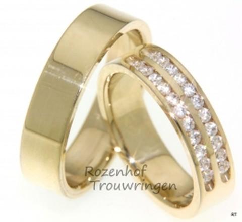 Glanzende, geelgouden trouwringen met diamanten