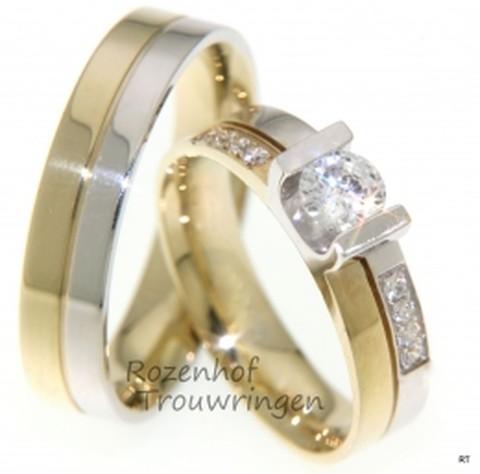 Charmante trouwringen in twee kleuren met schitterende diamanten