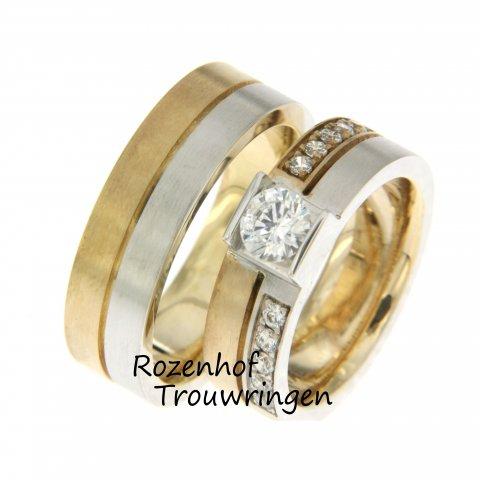 Royale trouwringen uitgvoerd in wit- en geelgoud! Dit noemt Rozenhof Trouwringen ook wel bicolor trouwringen. Bekijk onze luxe trouwringen voor bruidsparen.