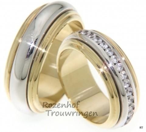 Imponerende, bicolor trouwringen met fonkelende diamanten