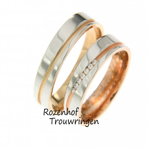 Wilt u wel rosé in uw ring maar niet als overheersende kleur? Dan is dit de perfecte set voor u. Trouwringen uitzoeken bij Rozenhof Trouwringen is mooi!
