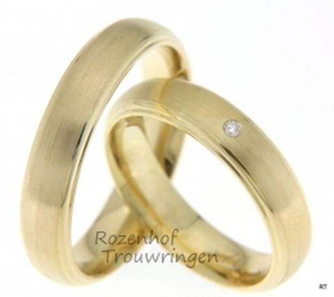 Matte geelgouden trouwringen