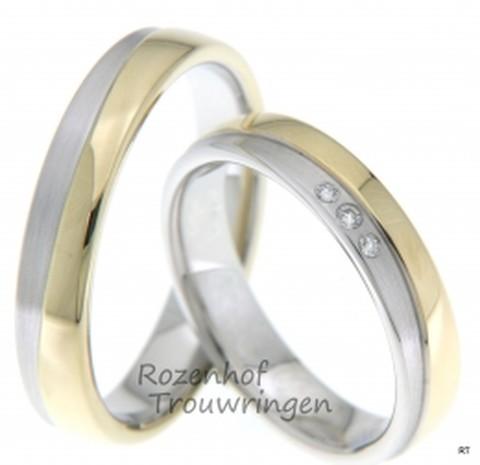 Romantische, bicolor trouwringen van wit- en geelgoud