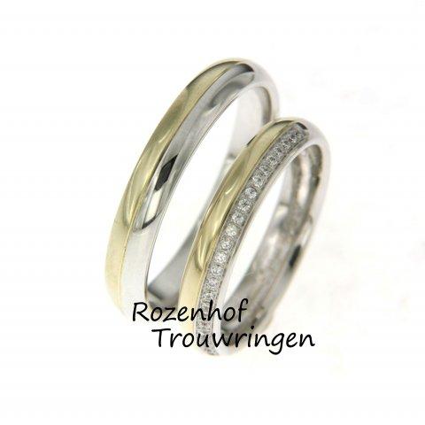 Deze mooie mix van wit- en geelgoud is verkrijgbaar bij Rozenhof Trouwringen! De smalle set zorgt voor een prachtige elegantie. Verliefd op stralende diamanten.