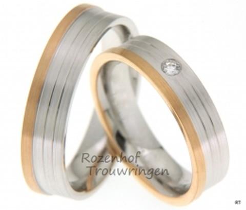 Bicolor trouwringen met fijne lijnen. Het roodgoud en witgoud vormen samen een mooi geheel. De ringen zijn 5,5 mm breed. In de dames trouwring is een fonkelende briljant geslepen diamant van 0,05 ct gezet.