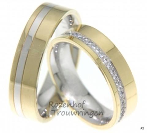 Schitterende trouwringen, verkrijgbaar in witgoud met geelgoud of roodgoud met witgoud. De ringen zijn 6mm breed. De dames trouwring is bezet met maar liefst 26 briljant geslepen diamanten van in totaal 0,169 ct. Een juweel voor het oog!