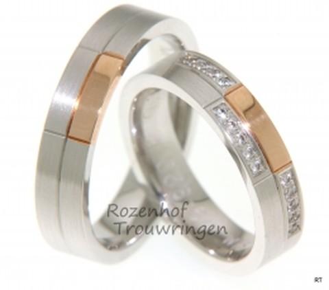 Een schitterend paar, opvallend door de bijzondere vlakverdeling. De ringen zijn 5 mm. breed. Deze ringen zijn vervaardigd uit roodgoud en witgoud met gematteerde finish, maar dit kan uiteraard ook in combinatie met geelgoud gemaakt worden. De dames trouwring is schitterend met de 15 briljant geslepen diamanten van in totaal 0,15 ct,welke in drie vlakken verdeeld zijn.