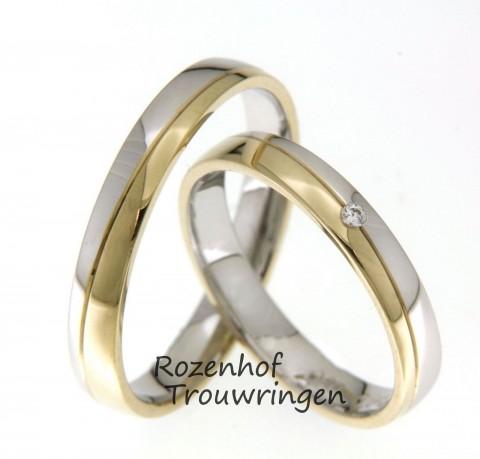 Hoogglanzende trouwringen in twee kleuren